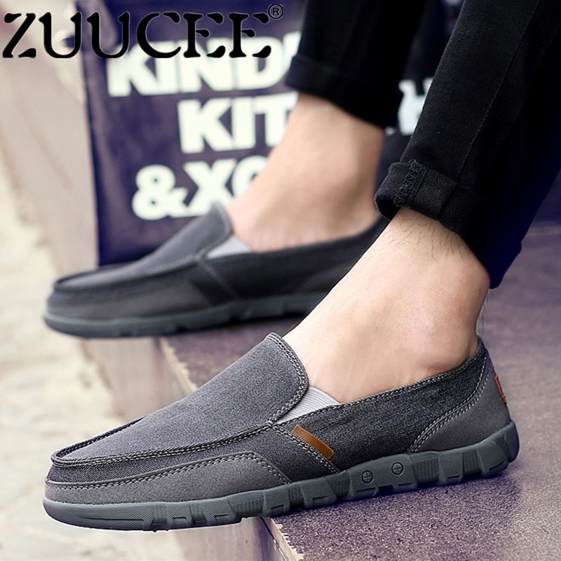 ZUUCEE Men Big Size Shoes Slip-Ons Loafers Shoes Casual Flats Canvas Shoes (grey) - intl