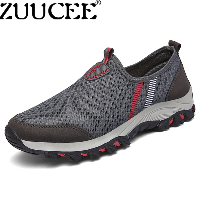 ZUUCEE Men Breathable Slip-Ons Summer Casual Net Cloth Shoes Soft Soles Outdoor Shoes (grey) - intl