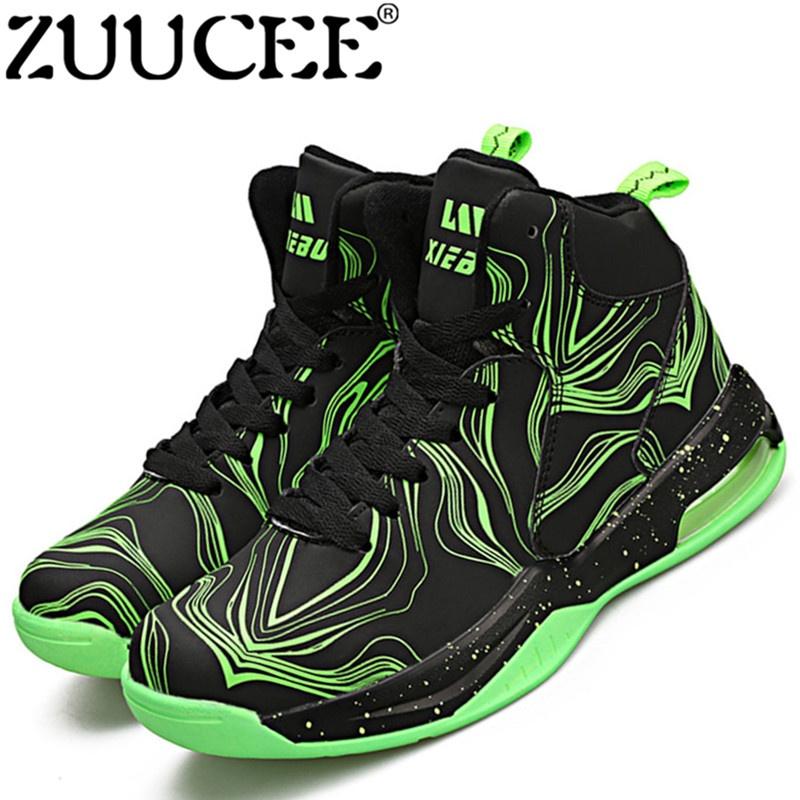 Zuucee Fashion Pria Olahraga Luar Ruangan Sepatu Basket Pecinta Berjalan  Tinggi-Top (Hitam Hijau ada28e1603