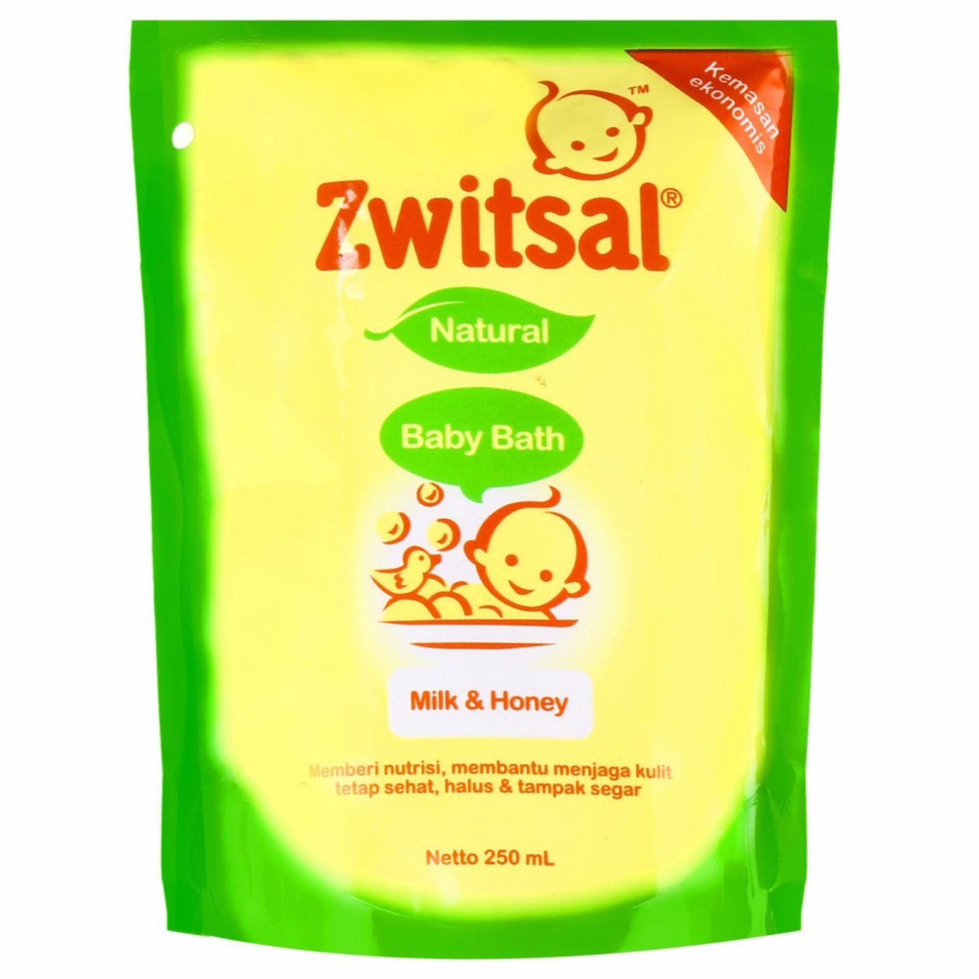Zwitsal Baby Bath Natural Milk & Honey Refill 250 ml