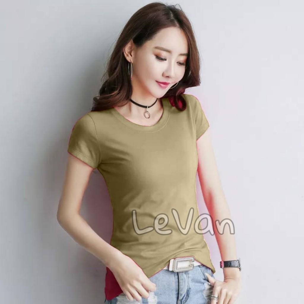 levan – kaos polos wanita t-shirt perempuan pakaian cewek lengan pendek