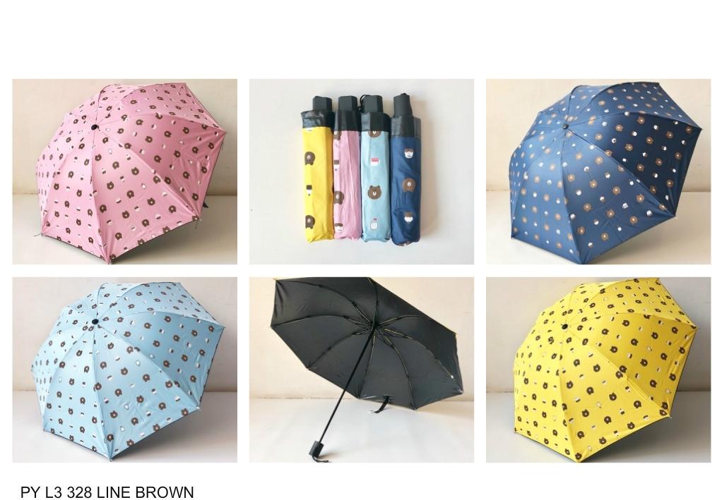 payung lipat 3 motif line brown warna random