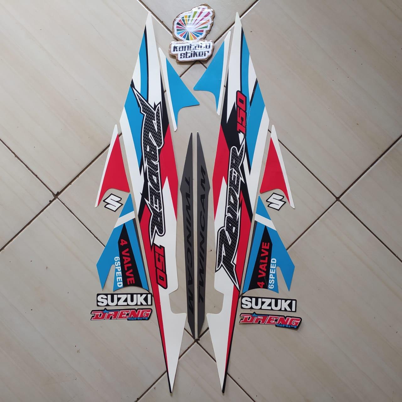 striping motor suzuki raider r150 2006 biru muda