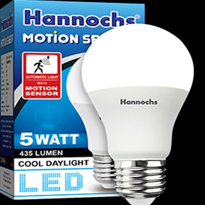 lampu led sensor gerak motion sensor 5watt/5w hannochs garansi