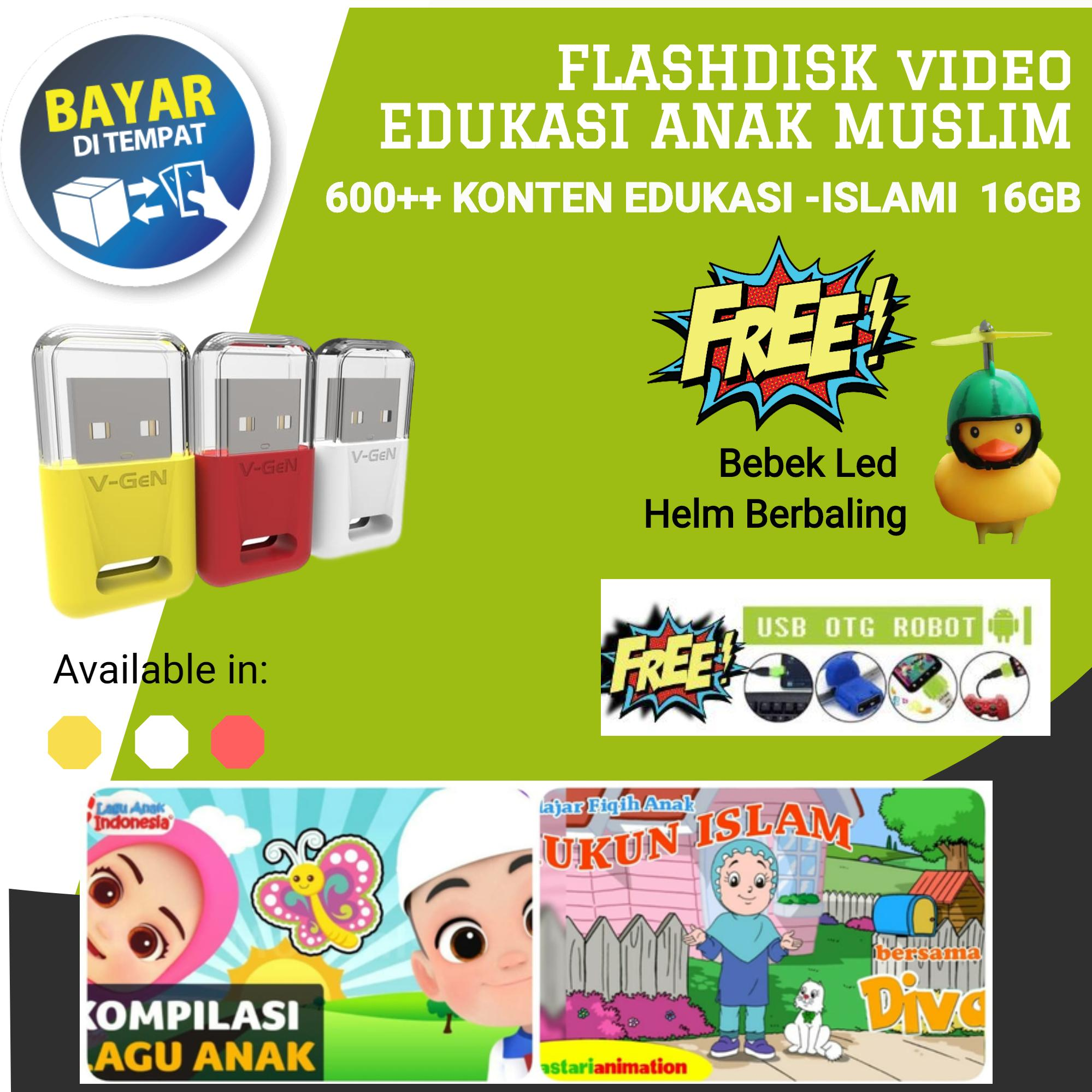 video edukasi anak islami flashdisk 16 gb gratis otg – gratis bebek led baling – bisa cod