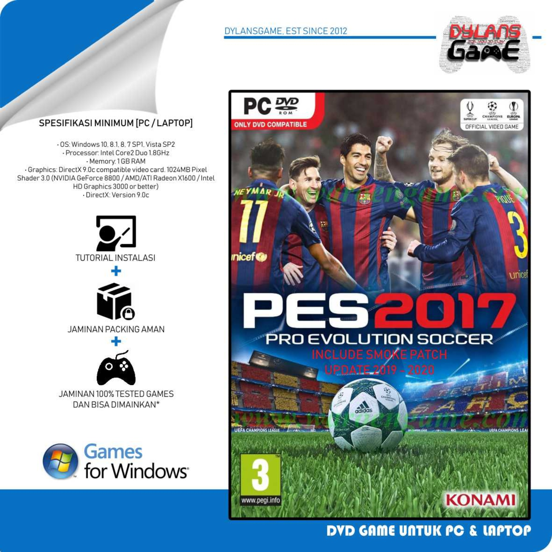PRO EVOLUTION SOCCER 2017 - PES 17 + PATCH UPADATE 23 DEC 2019 PC GAME DVD GAME PC LAPTOP
