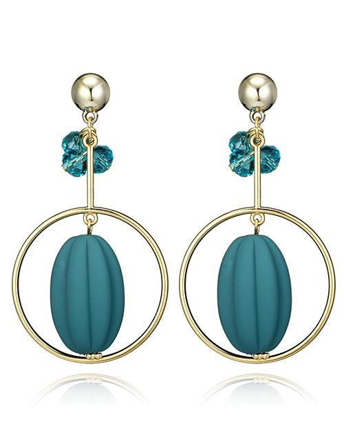 LRC Anting Tusuk Fashion Oval Shape Pendant Decorated Earrings