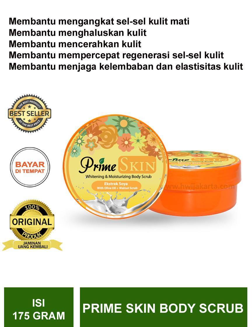prime skin whitening & moisturizing body scrub hwi 1 botol isi 175 gr – terjamin original – official store