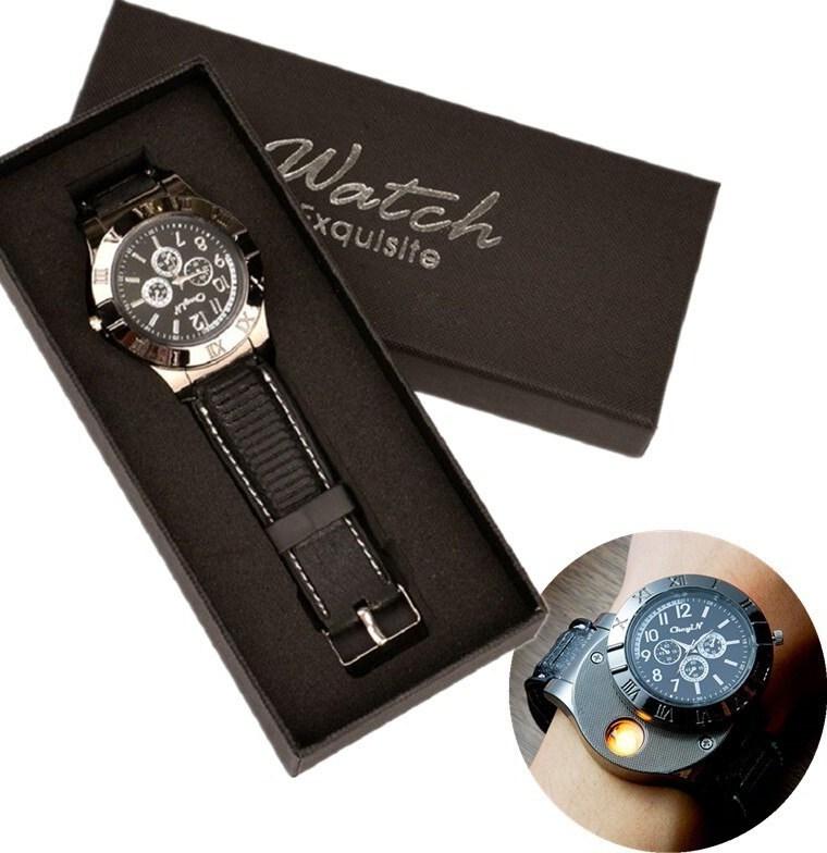 [promo terbatas] [] [gratis ongkir] eceran premium jam tangan  + box exclusive korek elektrik romawi the lighter watch premium cod / express ready – black