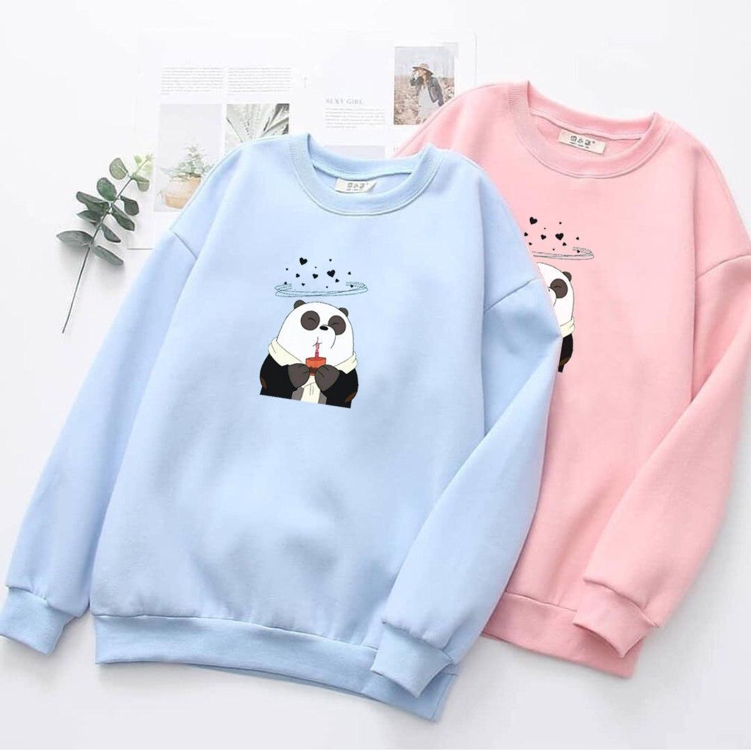 vallenca jaket hoodie sweater zipper wanita panda minum klasik
