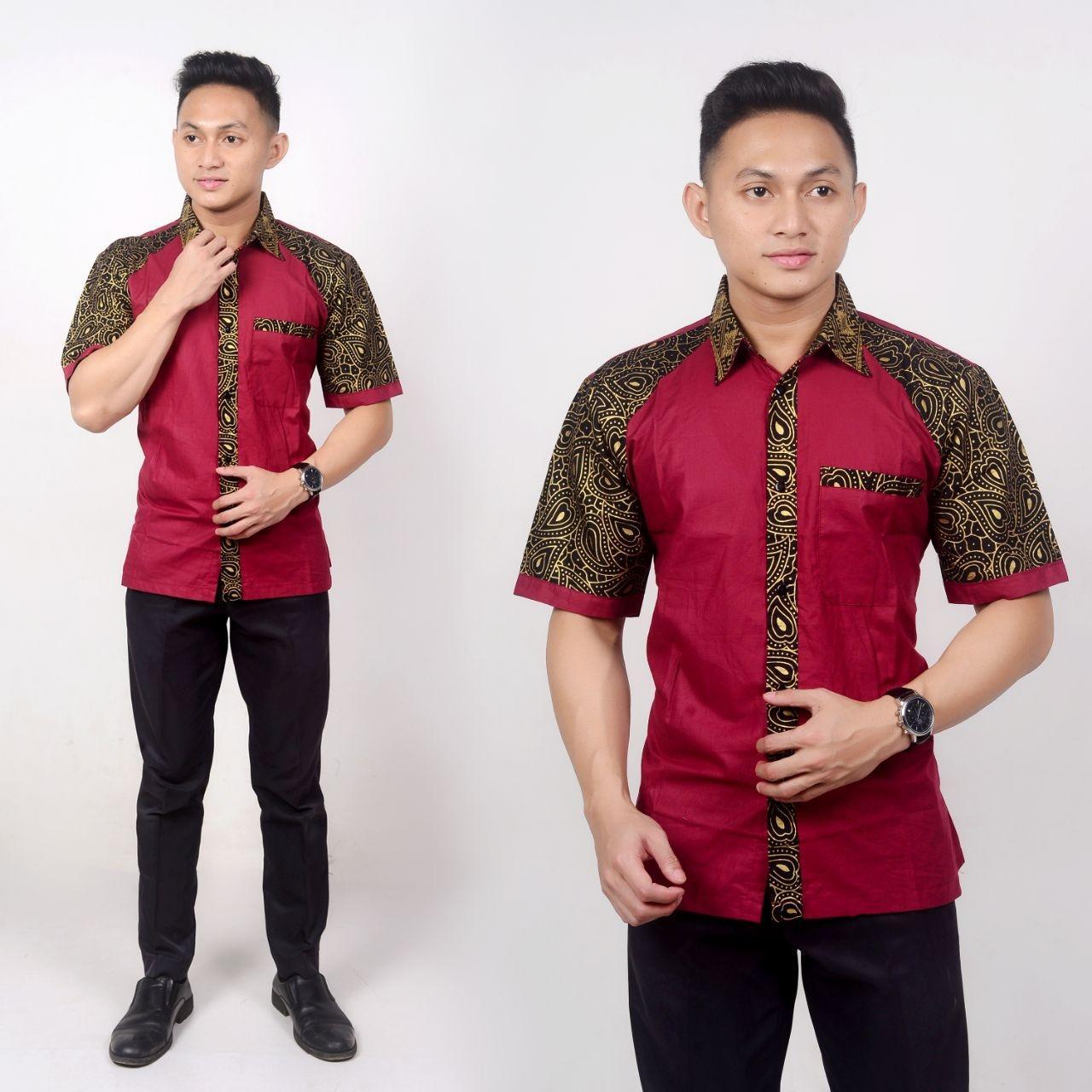 Review Hem Batik Pria Kombinasi Pekalongan Motif Keong Maroon Dan