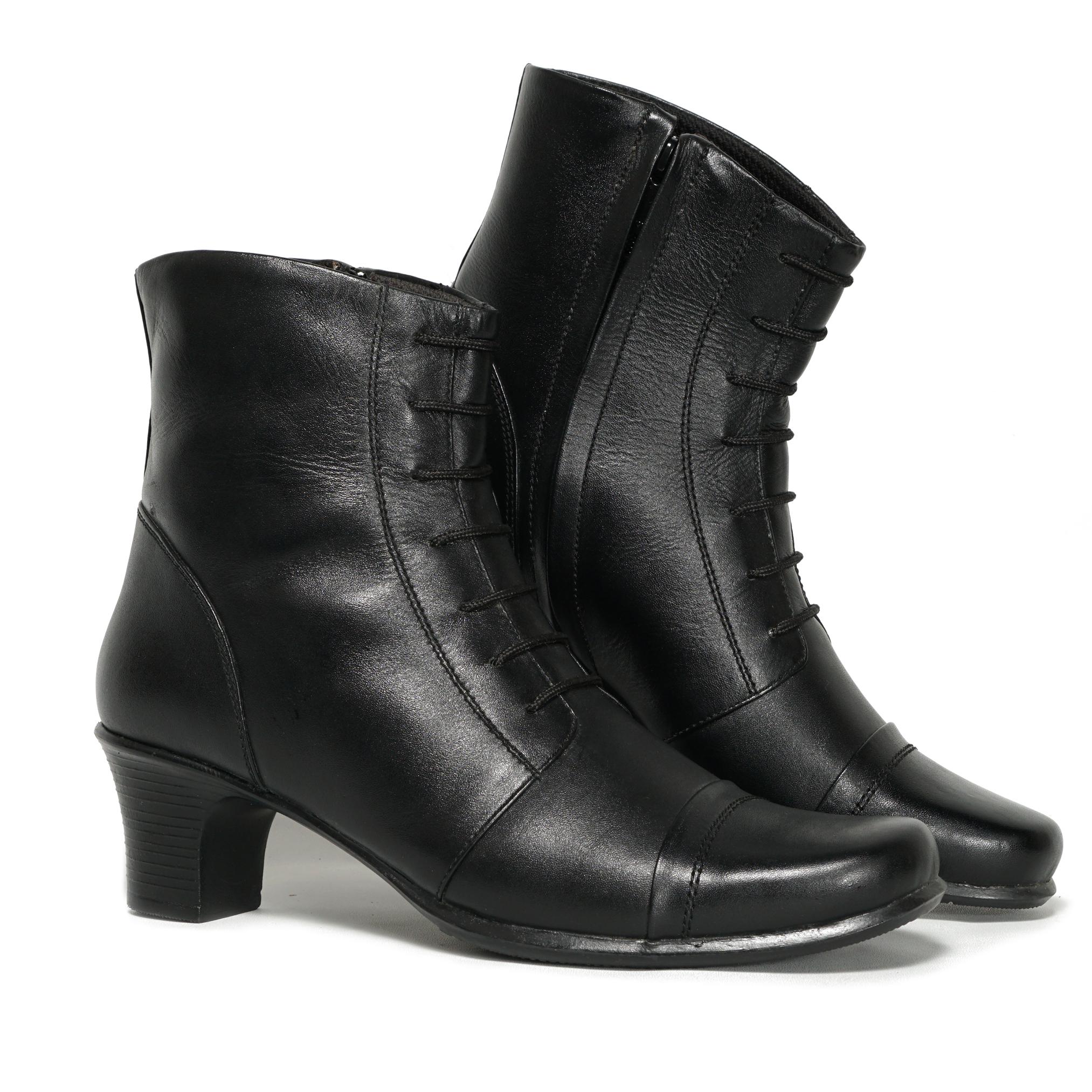 sepatu wanita boots kulit formal vidha meifa boots zipper hak 5cm bv2001