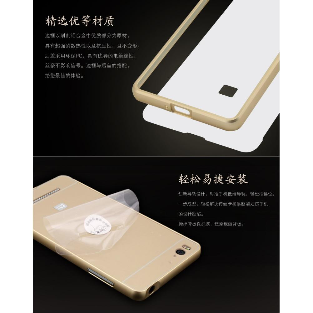 ... Aluminium Bumper Case with Arcylic Back for Xiaomi Mi4i / Mi4c - Golden - 4 ...
