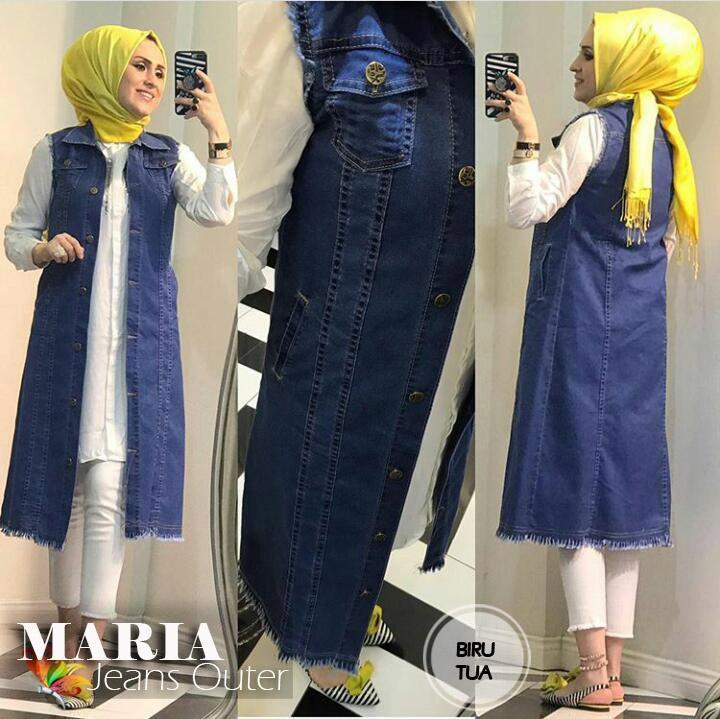 mj fashion wanita  outwear / rompi wanita maria washedd – jeans