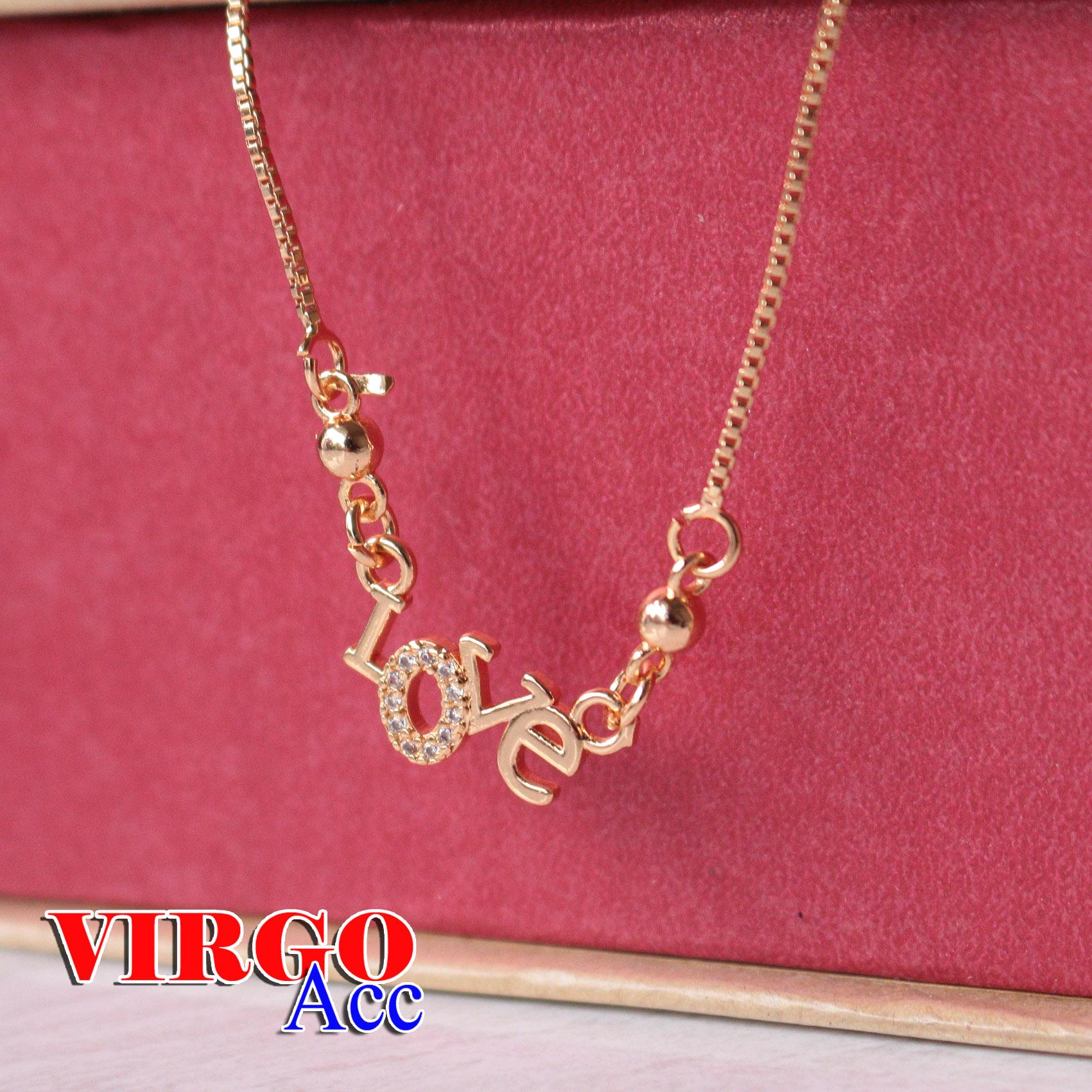 acc cod- kalung wanita xuping gold itali liontin love permata kunci langsung anti luntur 24k new