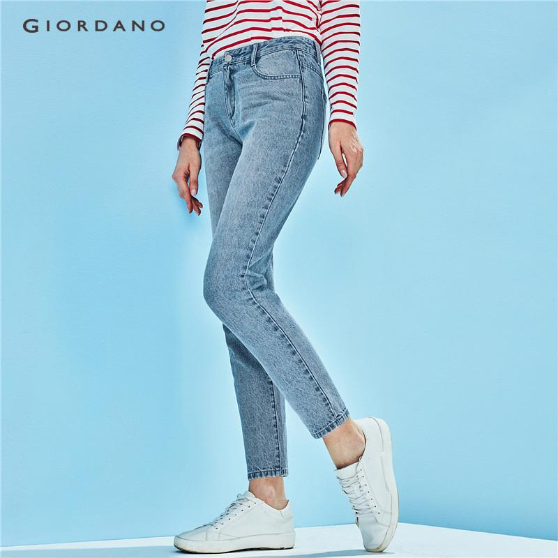 Detail Gambar Giordano Women Straight Jeans Ankle Length Denim Pants For Women Cotton Cropped Jeans Five Pocket Style 05428089 Newest