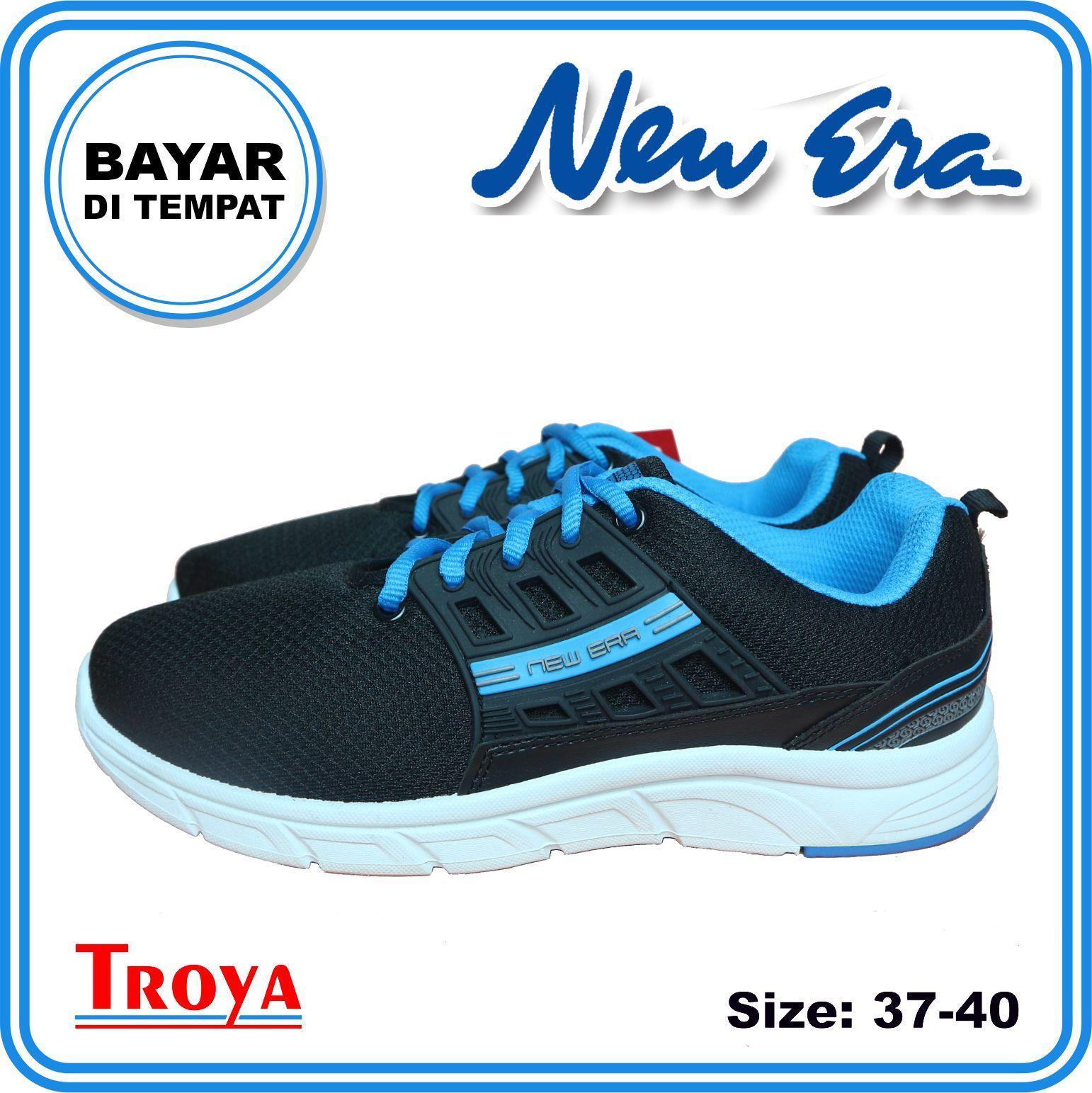 troya – new era sepatu wanita olahraga aiko 39-40 hitam biru berkualitas original  shsg / sepatu wanita fashion / sepatu sneakers wanita / sepatu sneakers wanita - sepatu kets wanita / sepatu lari wanita / sepatuwanita troyastore