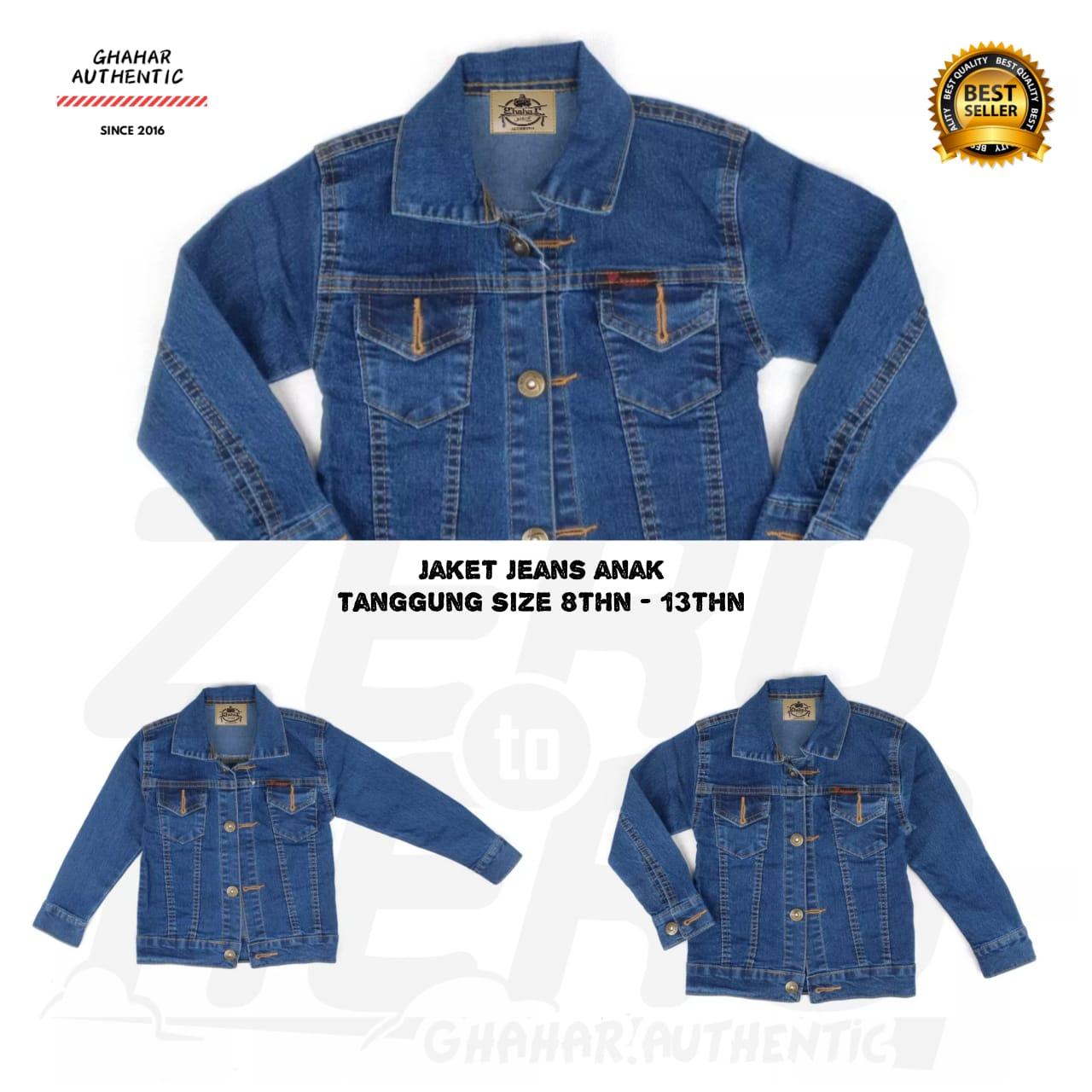 gn -jaket jeans anak pria umur 8thn-13thn / jaket jeans ghahar anak tanggung biowash
