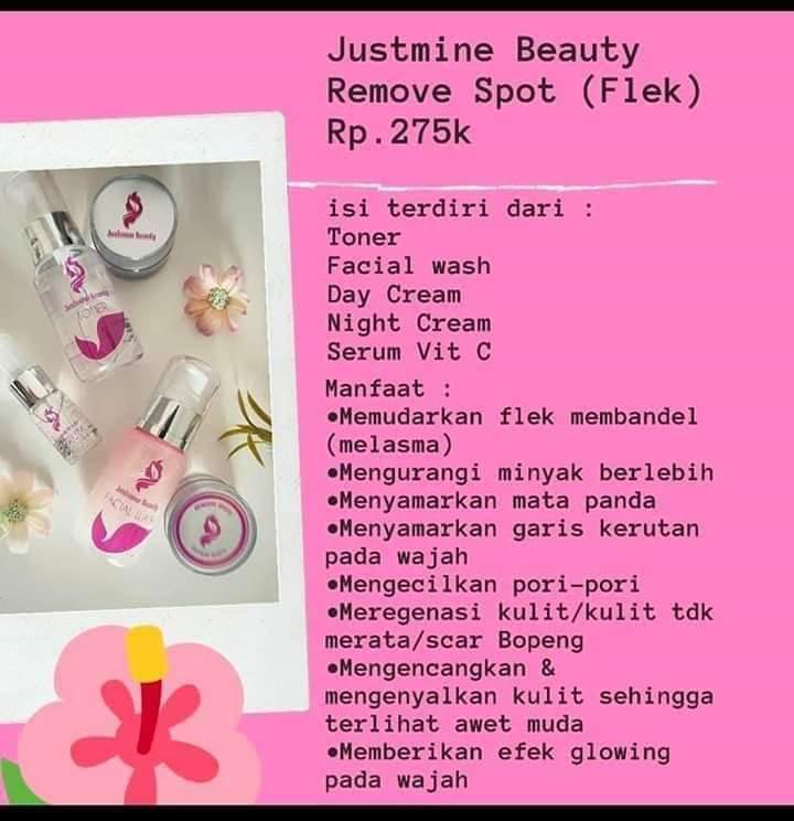 paket justmine beauty remove spot a1-paket flek membandel-pori2 besar-memutihkan-paket skincare glowing-paket wajah skincare