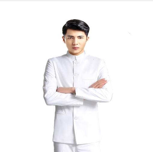 jas pria – jas slim fit – jas shanghai – jas mandarin style putih
