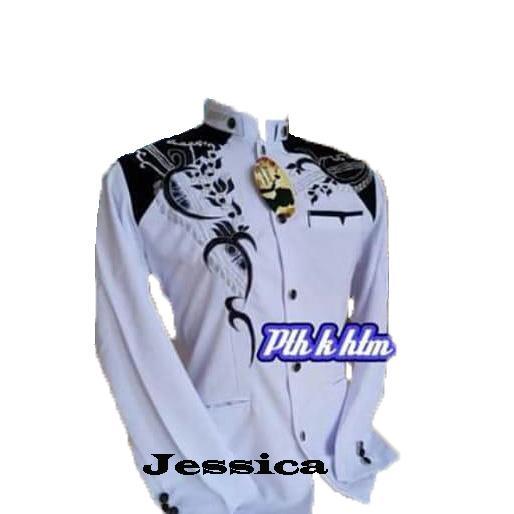 new diskon!!!promo!!! jasko bordir original real pict ready stok size s m l xl putih kombinasi hitam motif pdg