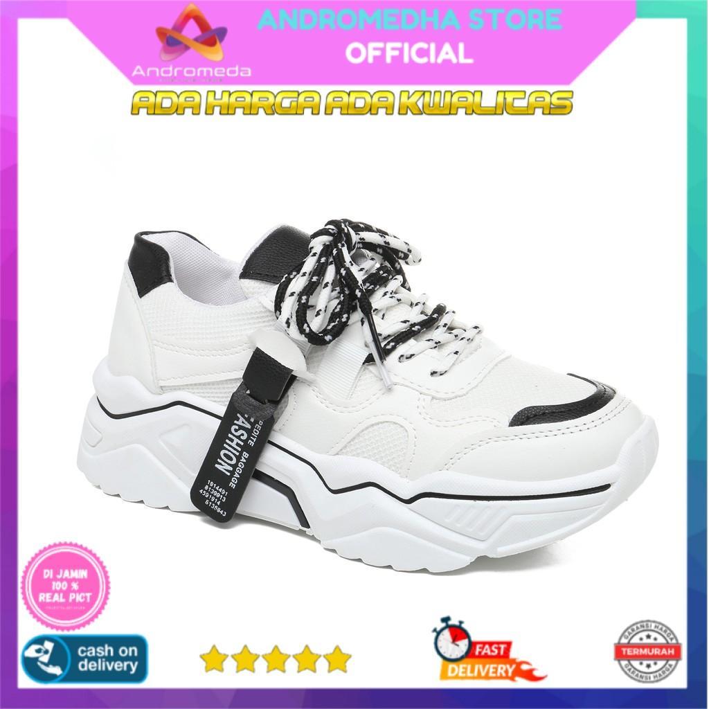bisa cod real pict sepatu sneakers wanita sport shoes casual putih 099