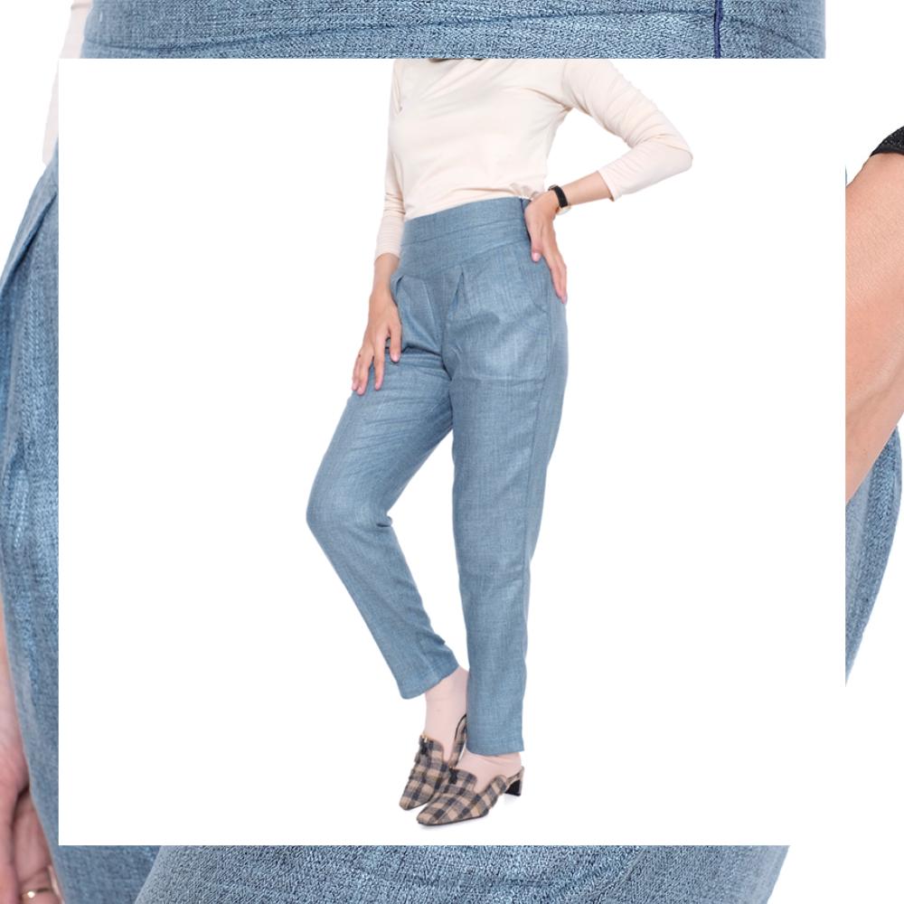 haymeestore celana highwaist nisibo premium wanita bawahan baggy pants sleting samping korea