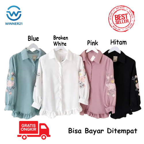 winner21 baju atasan wanita  | kemeja |tunik wanita |lengan panjang | atasan muslimah bahan premium berkualitas bisa untuk remaja kekinian (flori) + free bros