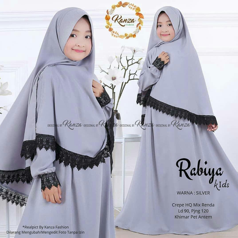 baju muslim gamis anak lol  led nyala free khimar usia 2-11thn