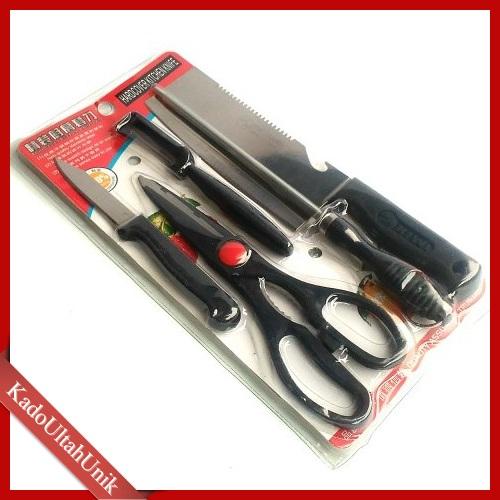 peralatan masak 5in1 alat perabotan rumah tangga dapur memasak kitchen knife set