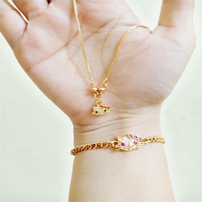 perhiasan xuping liontin anak set cincin hellokitty