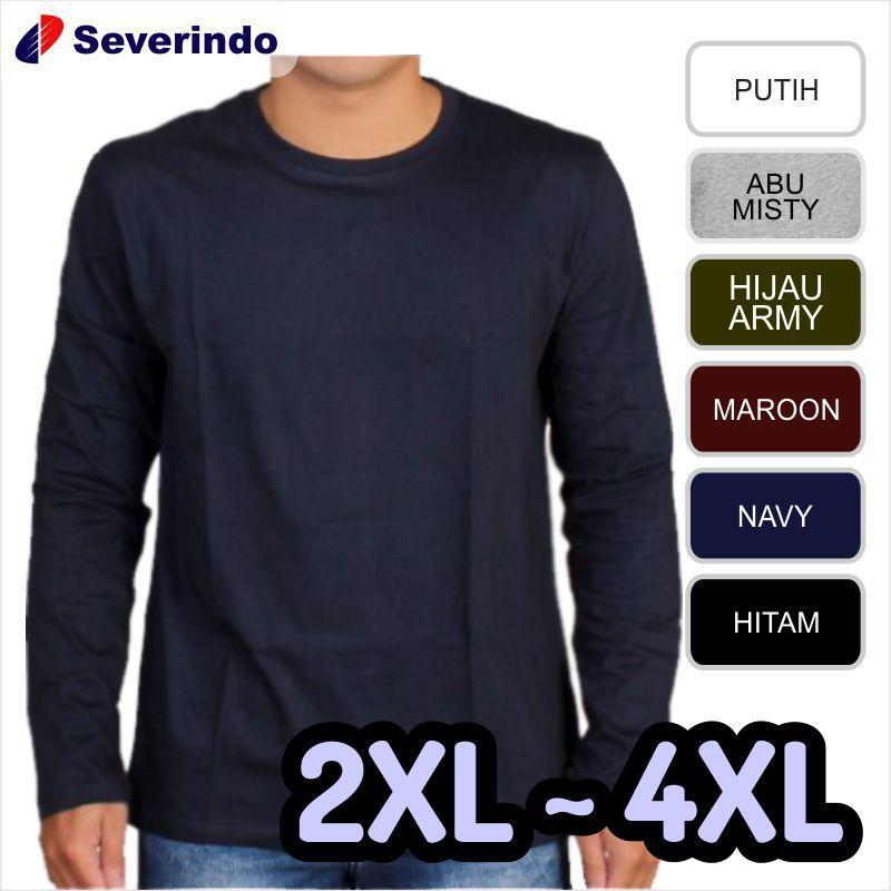 Kaos polos lengan panjang jumbo big size XXL 2XL XXXL 3XL XXXXL 4XL