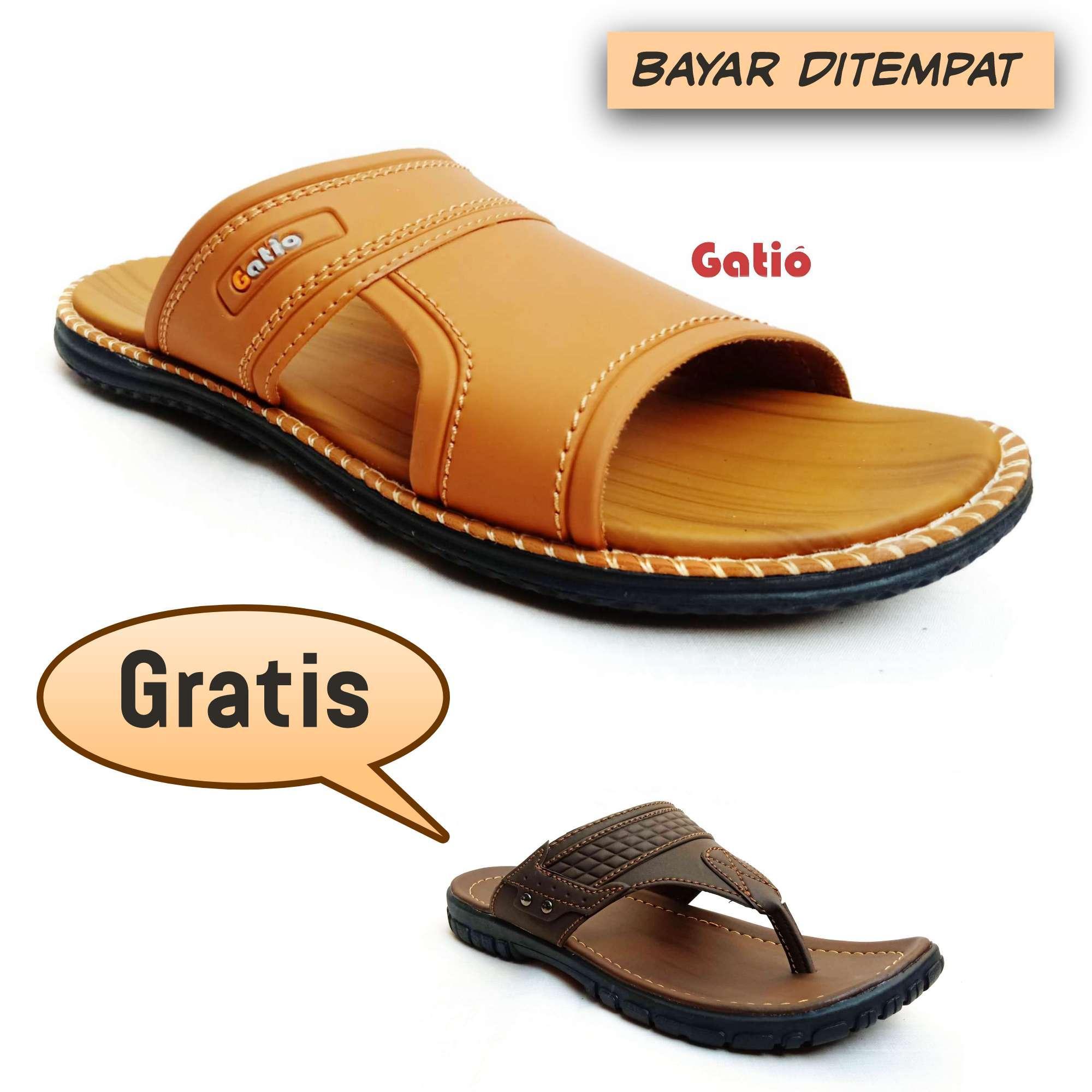 sandal pria kulit casual promo gratis gatio dh01dh02