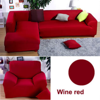 1 2 3 4 L Bentuk Kursi Sofa Melindungi Benang Penutup Sarung Merah Anggur- Internasional