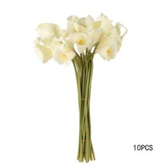 10 Pcs Calla Pengantin Pernikahan Bouquet Lateks Nyata Seperti Bunga-  Internasional 2d630f0e95