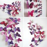 ... 12 Buah 3D PVC Magnet Dibetulkan Wall Sticker Dekorasi Rumah These Butterflies Merah Keunguan - 4 ...