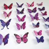 ... 12 Buah 3D PVC Magnet Dibetulkan Wall Sticker Dekorasi Rumah These Butterflies Merah Keunguan - 5