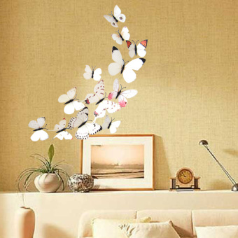 12PCS 3D PVC Magnet Butterflies DIY Wall Sticker Home Decor(White Series)