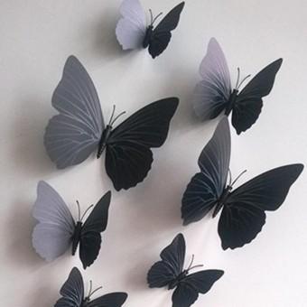 12 Pcs Mensimulasikan 3D Kupu kupu Dinding Stiker dengan Magnet Elegan Colourful Hiasan .