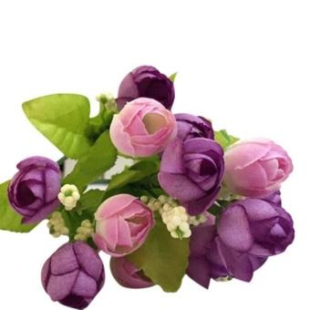 15 Kepala Buatan Mawar Sutra Palsu Bunga Daun Dekorasi Rumah Buket Pengantin  Ungu 19e2f18c3b