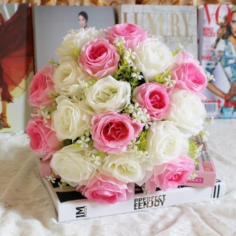 18Head Artificial Silk Roses Flowers Bridal Bouquet Rose Home Wedding Decor I - intl