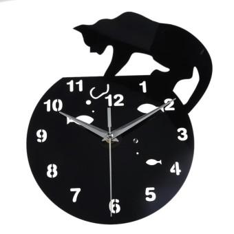 1 PC Modis Jam Kucing Dinding Stiker Akrilik DIY Cermin Kamar Tidur Seni Dekorasi Dinding-