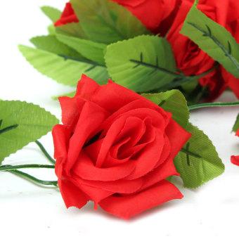 2.4 M Plastik Sutra Kain Rose Bunga Ivy Tanaman Merambat Gantung Garland Pernikahan Dekorasi Rumah Merah