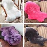 ... 2 In 1 Faux Kulit Domba Kursi Cover Lembut Hangat Bantalan Kursi Karpet Berbulu Halus Rug