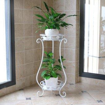 2-Tier Metal Balcony Fower Pot Shelf Garden Bunga Berdiri Holder Tanaman Bunga Pergolas Logam
