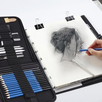 33pcs High Quality H&B Sketching Pencils Drawing and Sketch Kit Set with Erasers Charcoal Stick Sharpener