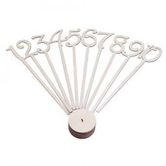 35cm Tall Table Number Wooden Stick with Base for Wedding Birthday Party 1-10 Set