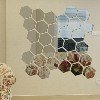 3D Mirror Hexagon Acrylic Wall Sticker Set of 12 (Grey)