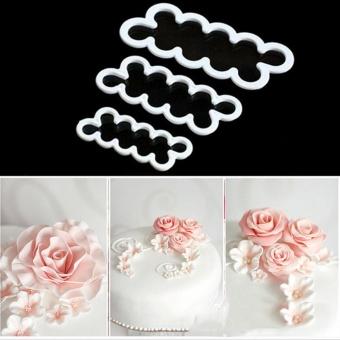 3D Rose Bunga Cetakan Cutter Sugarcraft Kue Fondant Kue Maker Decorating Tools-Intl
