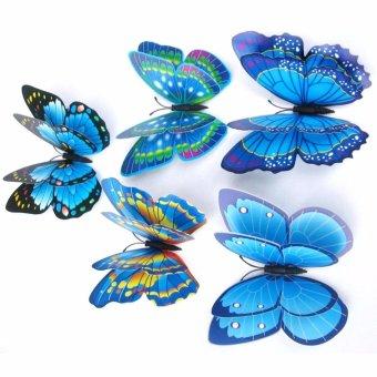 3D Wall Sticker Hiasan Dinding Kupu-Kupu Isabel Stiker Hias Butterfly 12 Pcs - Biru